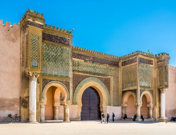 MEKNES,MOROCCO - APRIL 7,2017 - Gate Bab El-Mansour at the El Hedim square in Meknes. Meknes is one of the four Imperial cities of Morocco.; Shutterstock ID 646182178; Your name (First / Last): Lauren Keith; GL account no.: 65050; Netsuite department name: Online Editorial; Full Product or Project name including edition: Day in Meknes article